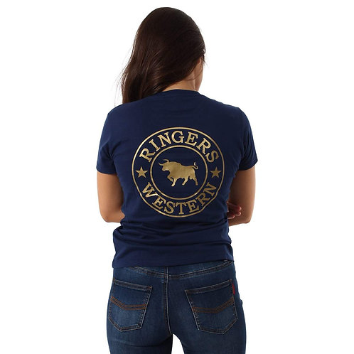LADIES RINGERS WESTERN Signature Bull Womens Classic T-Shirt Navy Gold