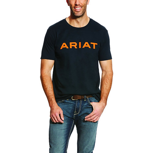 MENS ARIAT Branded T-Shirt - NAVY / ORANGE