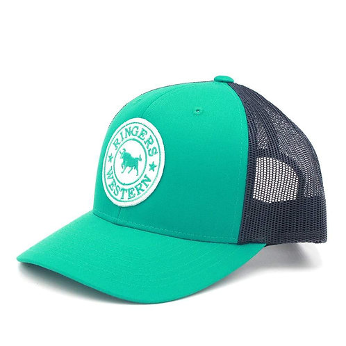 RINGERS WESTERN Signature Bull Trucker Green & Navy with Green & White Patch