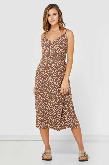 LADIES ELWOOD HEIDI SLIP DRESS-BROWN DITSY