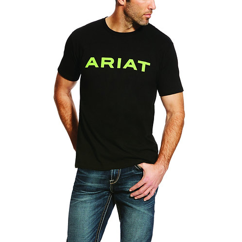 MENS ARIAT Branded T-Shirt - BLACK / LIME