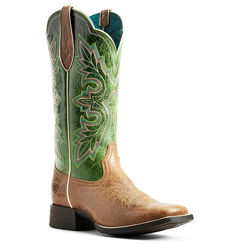LADIES ARIAT Breakout Western Boot Dark Tan/Treetop Green