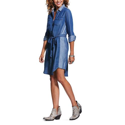 ARIAT LADIES FRESH AIR DRESS CHAMBRAY BLUE