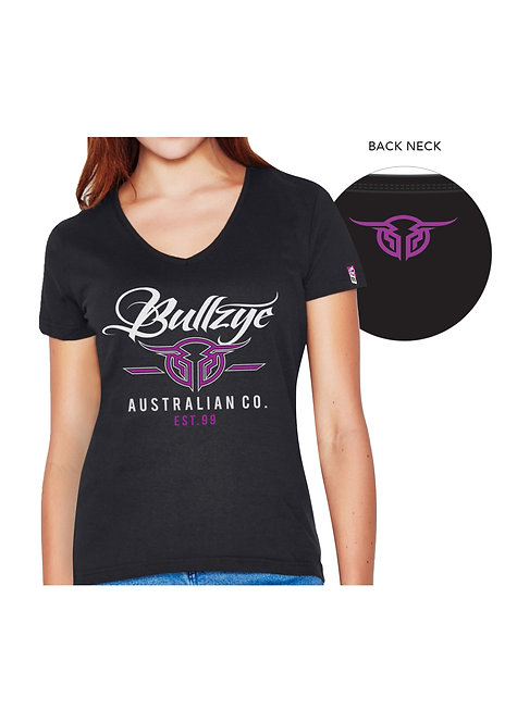 LADIES BULLZYE CODE V-NECK TEE
