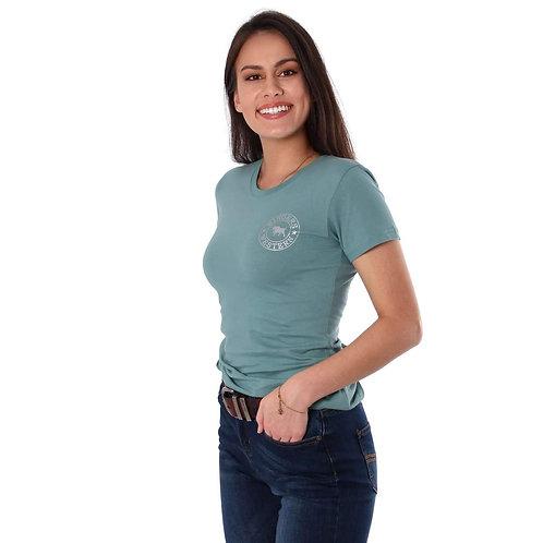 LADIES RINGERS WESTERN Signature Bull Womens Classic T Shirt Sea Green