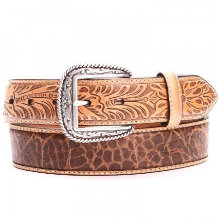 ARIAT Gator and Floral Leather Belts Tan - A1022008