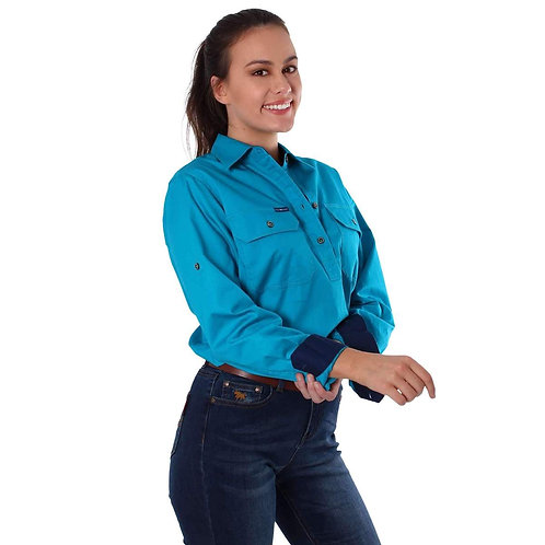 LADIES RINGERS WESTERN Pentecost River Half Button Work Shirt Turquoise