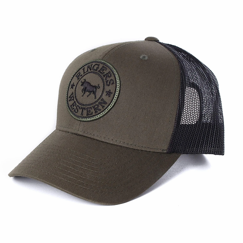 RINGERS WESTERN Signature Bull Trucker Army with Army & Black Patch