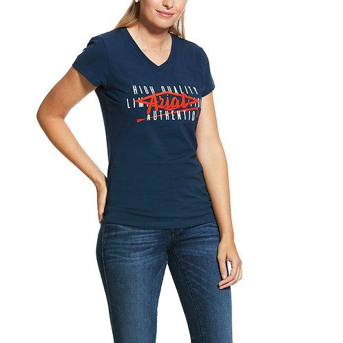 LADIES ARIAT Crop Logo T-Shirt  - DEEP PETROLEUM