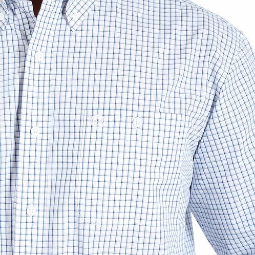 WRANGLER MENS GORGE STRAIT CHECK 1PKT  LS SHIRT-BLUE/WHITE