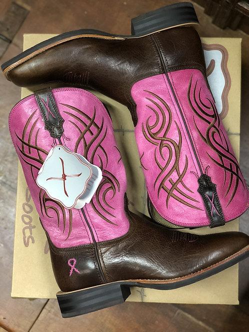 LADIES TWISTED X PINK RIBBON RUFF STOCK BOOTS