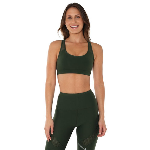 LADIES RINGERS WESTERN ALLORA MESH SPORTS BRA- KHAKI