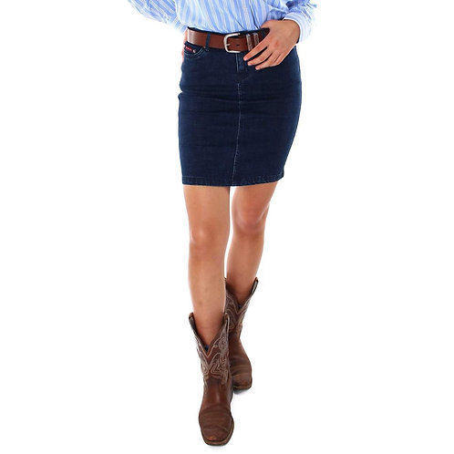 LADIES RINGERS WESTERN CARA MID DENIM SKIRT