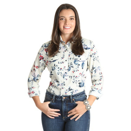 WRANGLER WOMANS WESTERN FASHION FLORAL LS SHIRT-IVORY