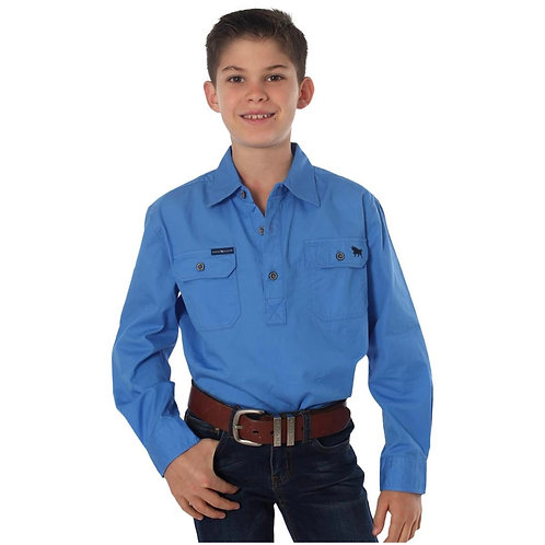 KIDS RINGERS WESTERN WORK SHIRT- BLUE