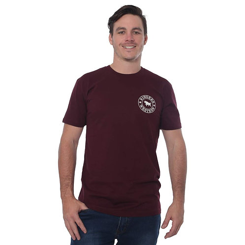 MENS RINGERS WESTERN SIGNATURE BULL TEE- BURGUNDY & NATURAL