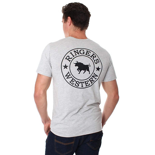 MENS RINGERS WESTERN SINGATURE TEE- GREY/BLACK