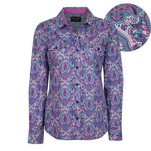 LADIES WRANGLER BRITTNEY PRINT L/S SHIRT