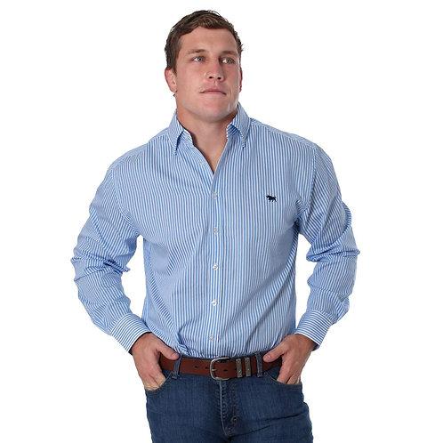 MENS RINGERS WESTERN Caulfield Semi Fitted Stripe Shirt Blue Stripe
