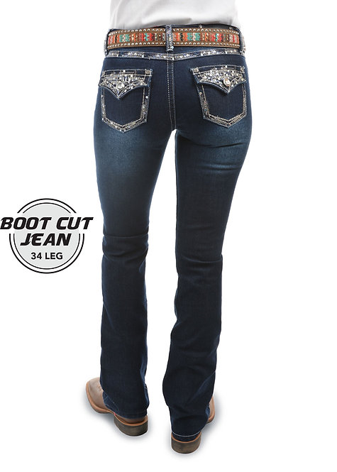 LADIES PURE WESTERN TAYLOR BOOT CUT JEAN - 34 LEG