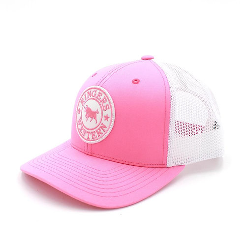 RINGERS WESTERN SIGNATURE TRUCKER CAP- PINK & WHITE