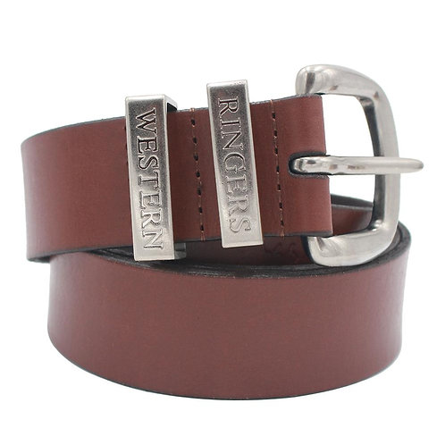 RINGERS WESTERN THE JAMES LEATHER BELT BROWN/SILVER-118122100-BRSLV