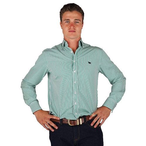 MENS RINGERS WESTERN Birdsville Semi Fitted Stripe Shirt Green Stripe