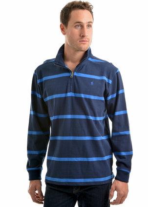 THOMAS COOK MENS WILMINGTON STRIPE 1/4 ZIP NECK RUGBY -DK NAVY/BLUE
