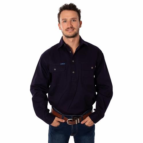 MENS RINGERS WESTER King River  Half Button Work Shirt - Dark Navy No reviews