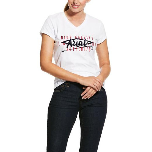 LADIES ARIAT CROP LOGO TEE  - White