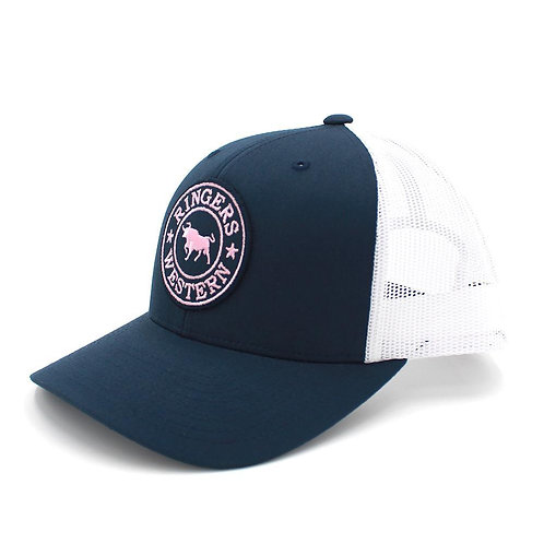 RINGERS WESTERN Signature Bull Trucker Navy & White with Navy & Pink Patch