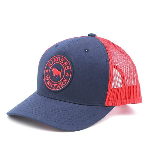 RINGERS WESTERN Signature Bull Trucker Navy & Red with Red & Navy Patch