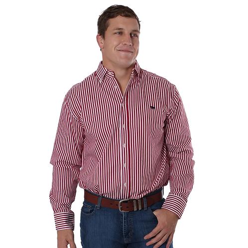 MENS RINGERS WESTERN Caulfield Semi Fitted Stripe Shirt Red Stripe