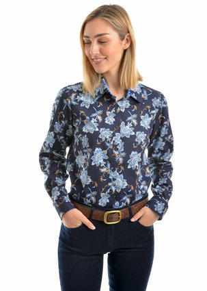 THOMAS COOK LADIES DEBORAH PRINT L/S SHIRT - BLUE/TAUPE
