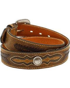 MENS ARIAT Western Belt Leather Lacing Overlay Concho Brown - A1021602