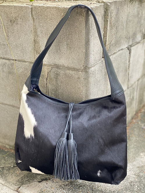 ATHANS COWHIDE HANDBAG- BLACK