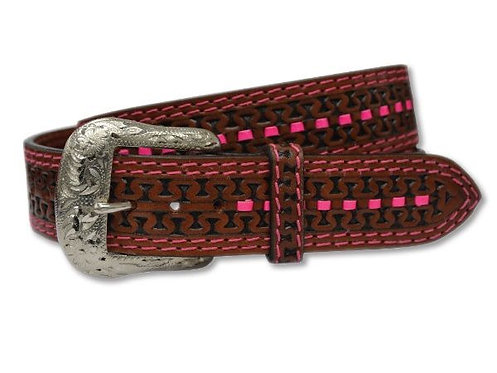 LADIES TWISTED X Leather Belt - Cognac / Pink - XIBC-4