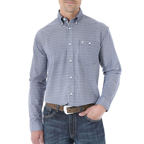 MENS WRANGLER 20X BARBED WIRE PRINT L/S SHIRT