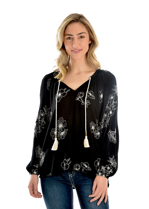 LADIES WRANGLER JANET BLOUSE- BLACK/CREAM