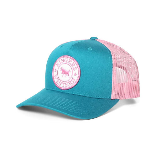 RINGERS WESTERN Signature Bull Trucker Teal & Pink with Pink & White Patch