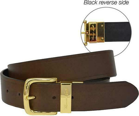 THOMAS COOK Signature Reversible Belt - GOLD BUCKLE