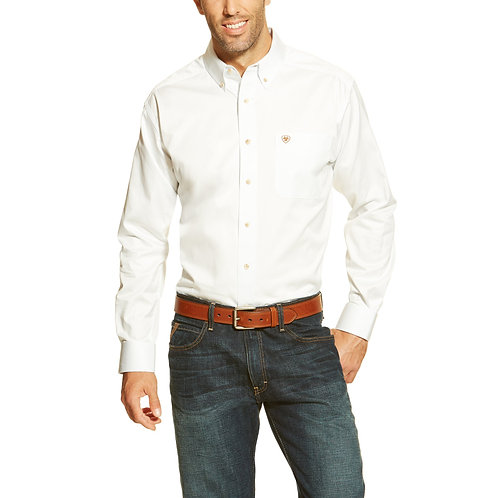 MENS ARIAT Solid Twill LS Classic Fit Shirt - WHITE