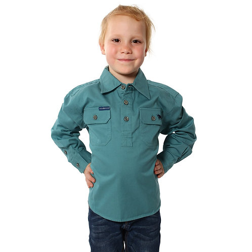 KIDS RINGERS WESTERN WORK SHIRT- DUSTY JADE