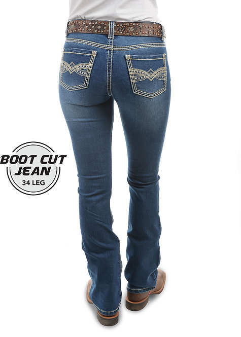 LADIES PURE WESTERN SAVANNAH BOOT CUT JEAN - 34 LEG