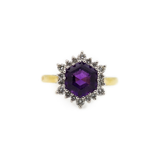 Amethyst & Diamond Ring view 1