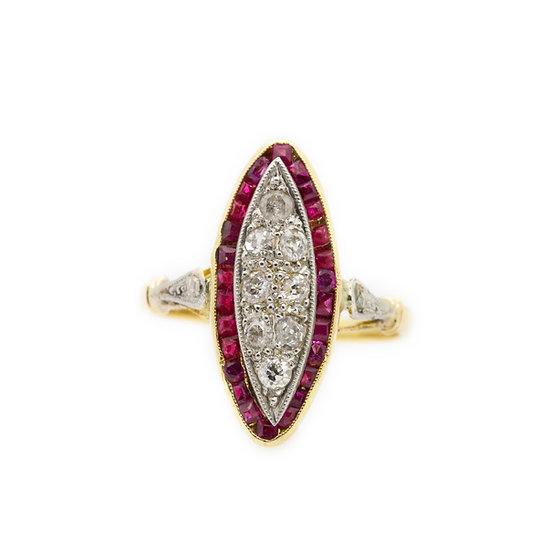 Art Deco Style Ruby & Diamond Ring