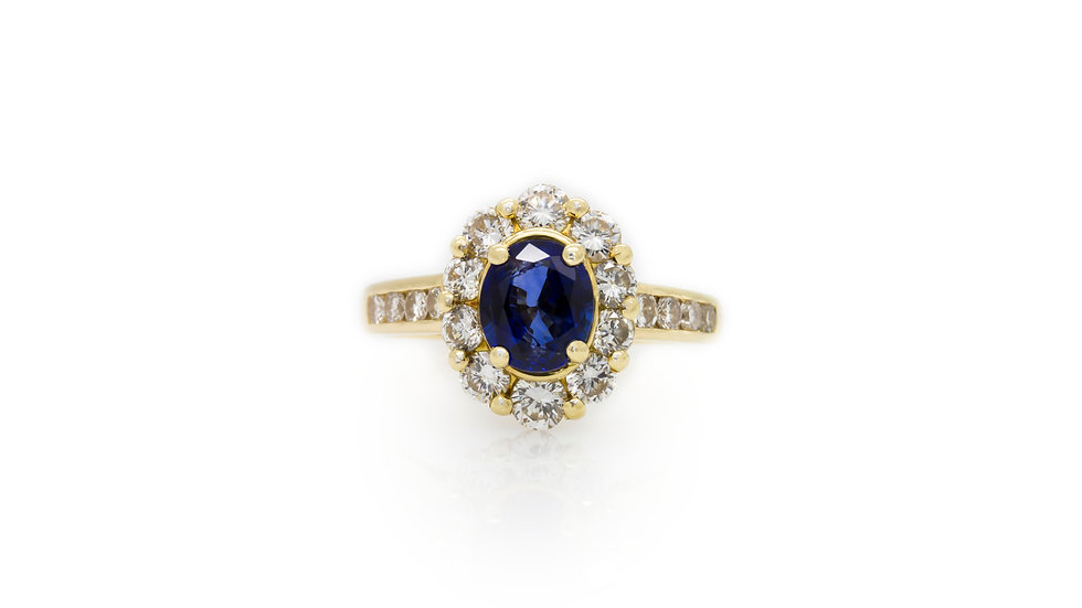 Sapphire & Diamond Halo Ring Mulroy Antiques view 1