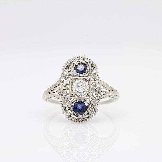 Art Deco Style Sapphire Diamond