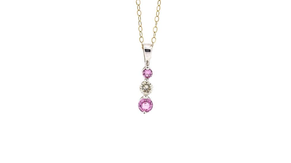 Pink Sapphire & Diamond Pendant & Earring Set