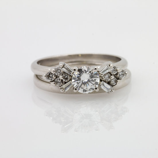 Solitaire Ring & Diamond Band
